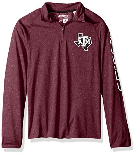 adidas NCAA Texas A&M Aggies Adult Men White Noise Casual Ultimate 1/4 Zip Tee, Large, Maroon Heathered