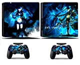Cosines PS4 Slim Stickers Vinyl Decal Protective Console Skins Cover for Sony Playstation 4 Slim and 2 Controllers Black Rock Shooter Twin Tail Hair Girl Get Ready