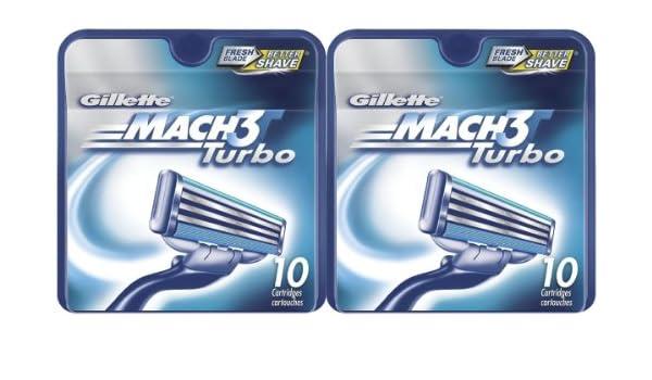 Amazon.com: Gillette MACH3 Turbo Refill Cartridges-10 ct, 2 pk: Health & Personal Care