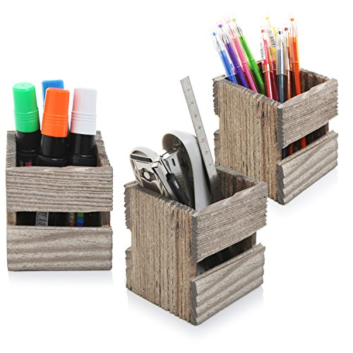MyGift Set of 3 Crate Design Pen & Pencil Holders, Wood Office Desk Storage Boxes by MyGift (Image #2)