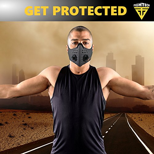 N99 Dust Mask by FIGHTECH with 4 Activated Carbon N99 Filters & 2 Air Valves. Dustproof Respirator Face Mask Protects from Dust, Allergy and Pollution. Good for Woodwork and Outdoor Activities (GRY) by FIGHTECH (Image #5)
