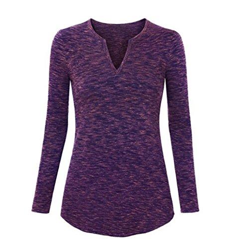 FEITONG Moda Mujer Casual Manga larga Saltador Pull-over Camisa de entrenamiento Tops Camisa púrpura