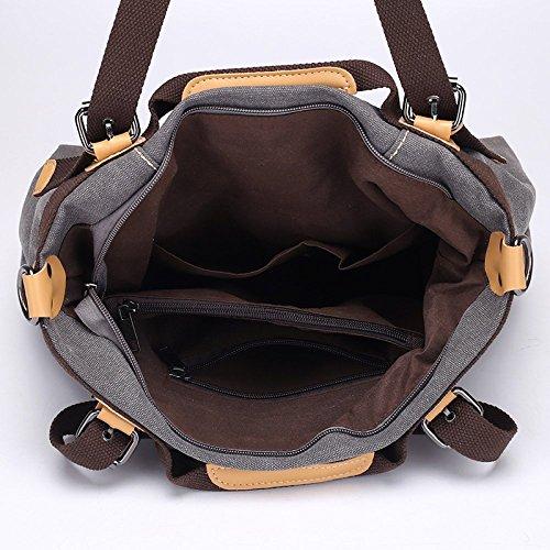 Casual Capacity Brown Travel Bag Large FLHT Comfortable Shoulder Mom Bag Fashion Ladies Backpack Handbag Messenger Lightweight Student Handbag Canvas xwqgg0tWp4