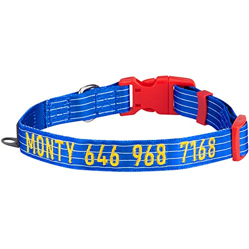 Image of Blueberry Pet 8 Patterns Personalized Dog Collar, Nautical Sleek Wisdom Stripes, Medium, Adjustable Customized ID Collars for Medium Dogs Embroidered with Pet Name & Phone Number