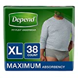 Depend FIT-Flex Incontinence Underwear for Men, Maximum Absorbency, XL, Gray, 38 Count