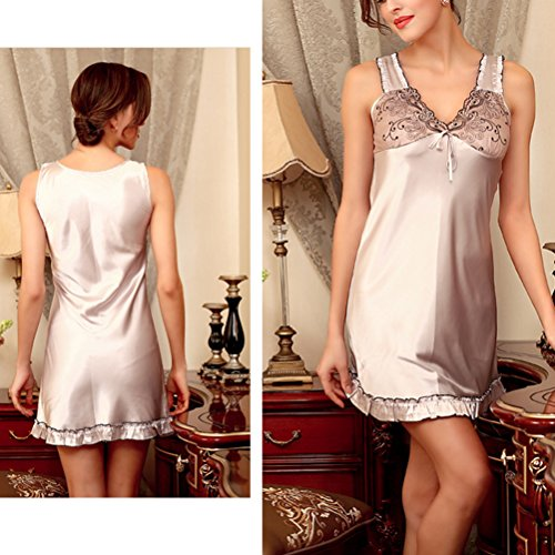 Zhhlinyuan Women Sleep Dress NightGown Sleepwear Slip Pajamas SQ123 Light Gray