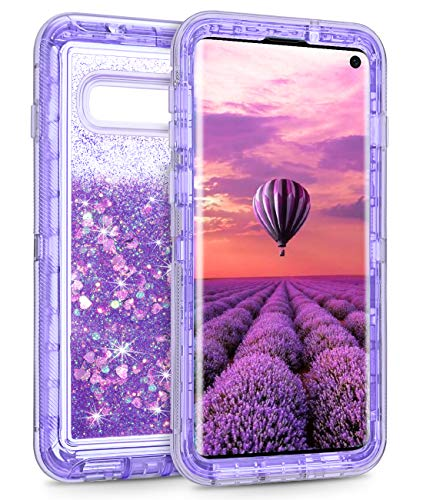 Coolden Case for Galaxy S10 Cases Protective Glitter Case for Women Girls Cute Floating Liquid 3D Quicksand Heavy Duty Cover Hard Shell Shockproof TPU Case for Samsung Galaxy S10 6.1
