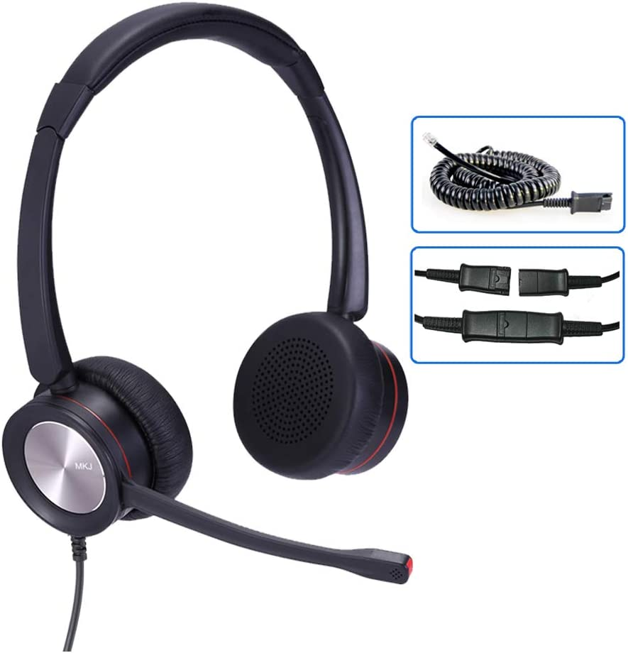 Corded Phone Headset with Microphone for Office Phones Call Center Telephone Headset Noise Cancelling for Yealink SIP-T28P SIP-T46S Panasonic KX-HDV230 Grandstream GXP1405 Snom 320 Sangoma S705 etc