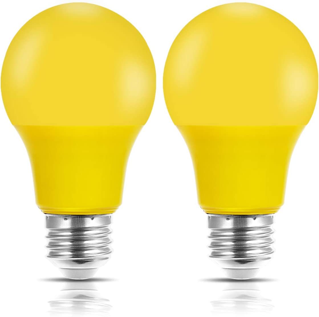 Yellow Bug Light Bulb, JandCase Holiday Decoration LED Bulb 40W Equivalent, 5W, A19 Outdoor Color Lights with E26 Medium Base, Porch, Home Lighting, Christmas Decor, Not Dimmable, Pack of 2