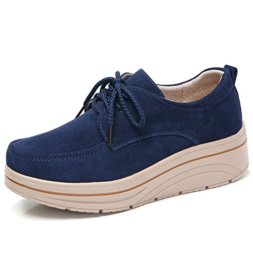 Suede Tan Shoes Sneakers - Womens Suede Platform Wedge Oxford Sneakers Lace Up Comfortable Work Shoes Navy Blue 8.5 US MH3929shenlan42