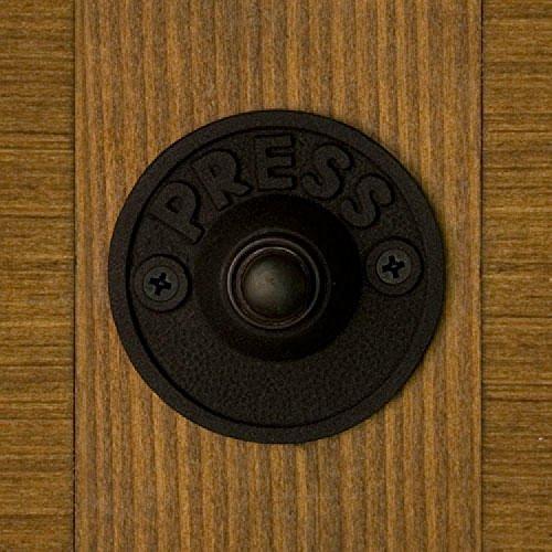 Naiture Iron Round Doorbell in Black Power Coat (Iron Doorbell)