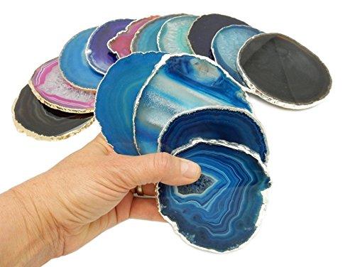 4 (FOUR) Silver Plated Edge Agate Coaster - Blue Colored Silver Plated Agate Coasters Rock Paradise COA (Colored Agate)