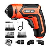 Cordless Rechargeable Screwdriver Set 5-in-1 Drill/Driver System 4-Volt 2000mAh Li-ion MAX Torque 4N.m LED, 28pcs Driver Bits for Assembly Projects DIY and Any Household Works