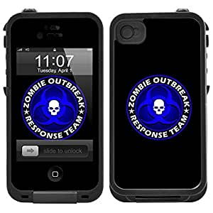 Skin Decal for LifeProof iPhone 4 Case - Zombie OutBreak Response Team Blue