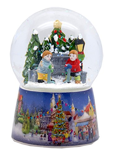 20069 snow globe nostalgic ice hockey players 5,5 inch height music box and rotation (Jar Snow Globe)
