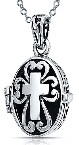 Small Oval Cross Locket Pendant Necklace For Women For Teen Antiqued 925 Sterling Silver Chain 18 Inch