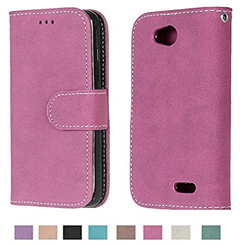 LG Optimus L90 Case, LG Optimus L90 Wallet Case TOMYOU Suede Leather Scratch-resistant Anti Slip Built in Card Slots Holder Kickstand Cover for LG Optimus L90 D415 Rose (Covers Lg Optimus L90)