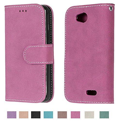 LG Optimus L90 Case, LG Optimus L90 Wallet Case TOMYOU Suede Leather Scratch-resistant Anti Slip Built in Card Slots Holder Kickstand Cover for LG Optimus L90 D415 Rose Red