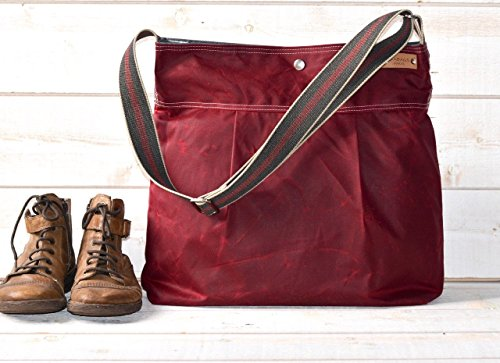Waxed Canvas Diaper Bag Bordeaux WCD01 by ikabags