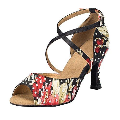 Sandals Strap Wedding Satin Taogo Cross Womens Black Ballroom Dance Minishion TH070 Latin OqtvXtw