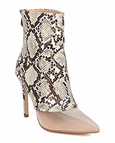 Women Mesh Toe Ankle Boot - Stiletto Bootie - Sz 7 Snake Boot