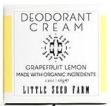 Little Seed Farm All Natural Deodorant Cream, Aluminum Free Deodorant for Women or Men, 2.4 Ounce - Grapefruit Lemon