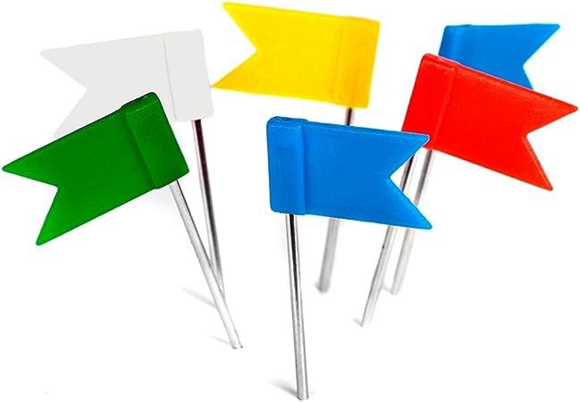200 Stück Markierungsfahnen Pinnadeln Flagge Gemischte 5 Farben Gelb Blau Rot Grün Weiß Reißnägel Fähnchen Für Pinnwand U Weltkarten Landkarten Original Decomonkey Bürobedarf Schreibwaren