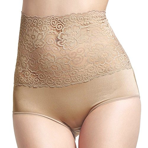 Aubree Floral High Waist Panties Premium Soft Stretchy Lace Comfortable Sexy Underwear for Women Nude Large
