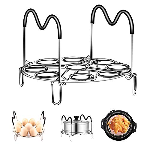 Egg Steamer Rack Trivet with Silicon Handles 2019 Upgraded for Instant Pot Electric Pressure Cooker, Stainless Steel Heat Resistant IP Accessories 6Qt 8Qt (Best Electric Pressure Cooker 2019)
