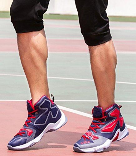No.666 Stadt Paar Männer Frauen Shock Absorption Laufschuhe Sneaker, Basketball Schuhe Blau Rot