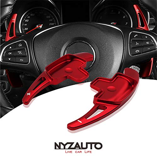 NYZAUTO Aluminum-Alloy Steering Wheel Paddle Shifter Extension Fit For Mercedes Benz A B C CLA CLS E G GL GLA GLC GLE GLS Metris S SL SLC Class(Model B-Red)
