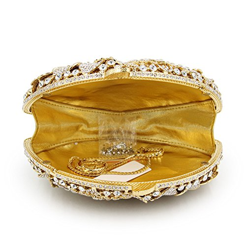 Flada de lujo de las mujeres rhinestones Flabellate noche embrague hueco flor bolso de la boda plata La Plata