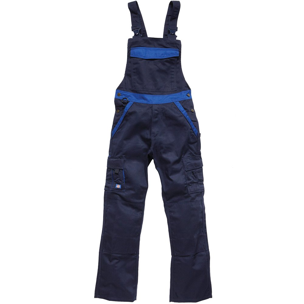 Dickies Industry 300 Mens Two Tone Work Wear Bib and Brace (44in- Short) (Navy/Royal)