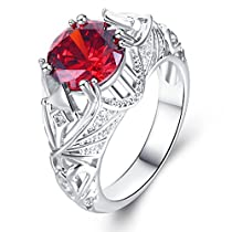 Women Rings Red AAA Cubic Zirconia Rhodium Plated Ring Luxury Engagement Party Wedding Jewelry Size 6