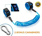 Anti-Lost Child Link - Wristband - Leash (2-Pack) - Safety Harness Strap for Toddlers with Kid-Proof Button Closure for your Peace of Mind. 2 Bonus Carabiners by SmartFux