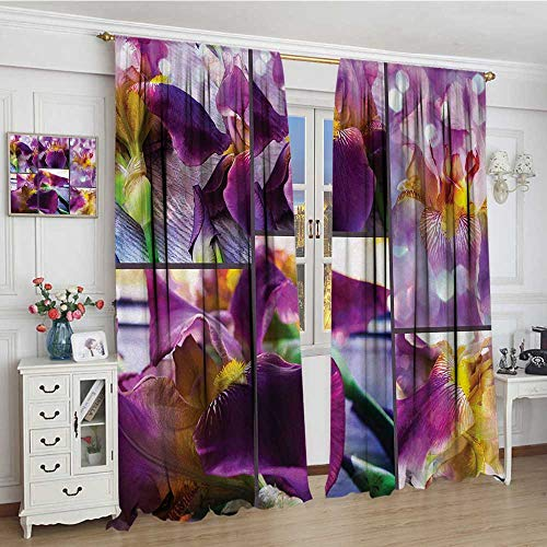 (youpinnong Rustic Window Curtain Drape Blooming Iris Flowers Orchids on Rustic Wood Natural Floral Beauty Romantic Image Decorative Curtains for Living Room 84