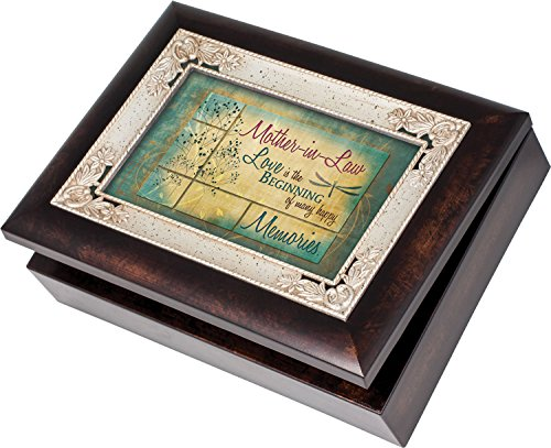 Cottage Garden Mother-in-Law Italian Style Burlwood Finish with Decorative Inlay Jewelry Music Box - Plays Song You Light Up My Life