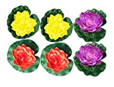 Raan Pah Muang 6 Pcs Large Artificial Floating Foam Lotus Flower Pond Decor Water Lily, Violet Yellow Orange