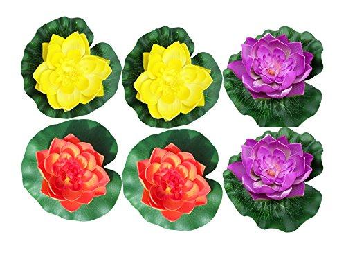 Raan Pah Muang 6 Pcs Large Artificial Floating Foam Lotus Flower Pond Decor Water Lily, Violet Yellow Orange by Raan Pah Muang