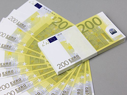 Euro €200 Full Print Double Sided Prop Money Stack for Movie, TV, Videos, Advertising & Novelty