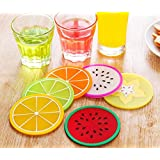 AnnyMart Fruit Slice Silicone Coaster ,Unique&Eye Catching,Especially Design for Your Bar,Kitchen and Patio,Set of 6