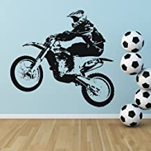 Dirt Bike Jumping Wall Sticker Bike Wall Decal Art available in 5 Sizes and 25 Colours X-Large Basalt Grey