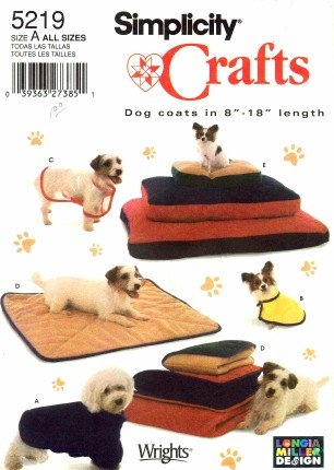 Simplicity 5219 Crafts Sewing Pattern Pet Dog Beds Blankets Coats