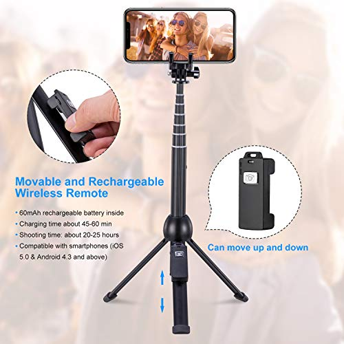 Eocean 45-Inch Selfie Stick Tripod, Extendable Selfie Stick with Wireless Remote Compatible with iPhone Xs/Xr/Xs Max/X/8 Plus/8/ iPhone XR/iPhone XS/iPhone XS Max/7 Plus/Galaxy Note 9/S9/S9 Plus/GoPro by Eocean (Image #3)