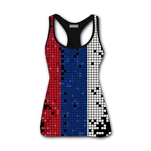 (Clofun Women Tank Top Russian Flag 3D Printed Sleeveless Funny Tee Shirt)