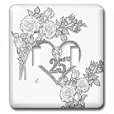3dRose Doreen Erhardt Wedding Collection - Silver Heart and White Roses 25th Anniversary for Wedding or Business - Light Switch Covers - double toggle switch (lsp_264585_2)