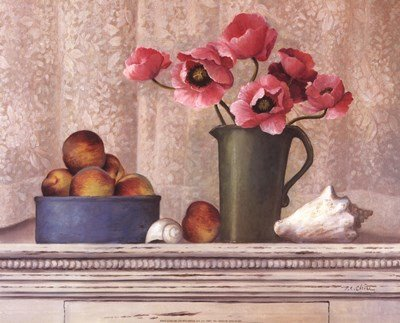 (Poppies, Peaches and Shells by T.C. Chiu - 20x16 Inches - Art Print Poster )