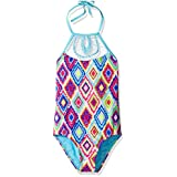 Vigoss Big Girls' Diamond One Piece Macrame Swimsuit, Blue Fish, 7/8
