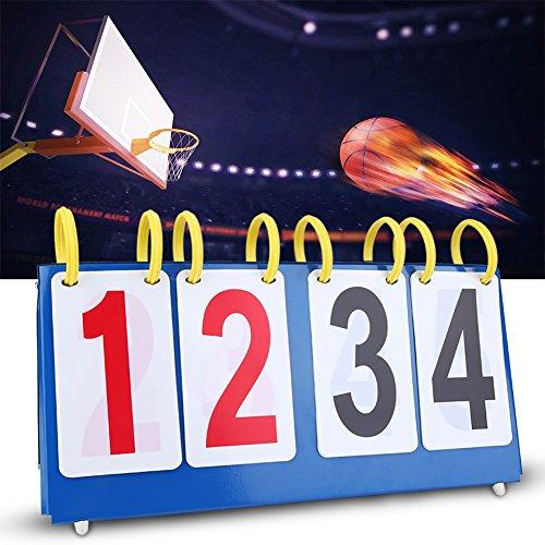 Alomejor 3/4 Scoreboard, Digit Portable Flip Sports Score Conuter for Table Tennis Basketball (4-digit)