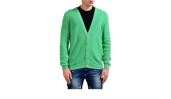 MALO Men's Green Silk Cashmere Cardigan Sweater US M IT 50